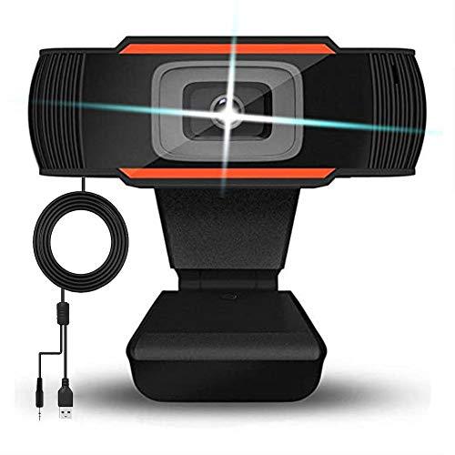 Webcam 720P con Micrófono, Cámara Web Full HD USB 2.0 Web Cam de Escritorio para PC, Mac, Laptop, Conferencias, Grabación, Juegos, Estudio en Línea, Skype, Compatible con Windows 2000/XP/7/8/10/ Vista