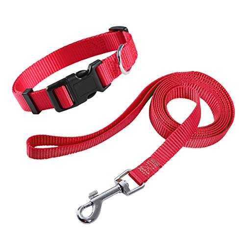 EAARTCHI Dog Collar and Leash Set, Adjustable Nylon Collar with Matching Leash for Small Medium and Large Dogs, Puppy Leash and Collar Set
