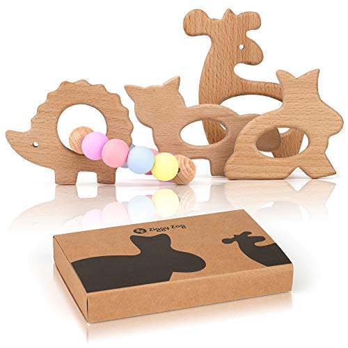 ZiggyZag Baby Forest Buddies Wooden Baby Teething Toys | Relieve Pain & Boost Baby's Development |...