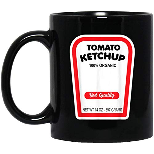 Grappig Biologisch Tomaat Ketchup Halloween Kostuum 11 oz. Zwarte mok