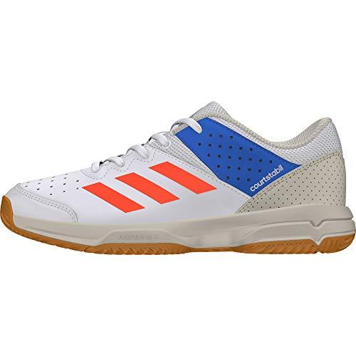 adidas Court Stabil, Unisex-Kinder Handballschuhe, Weiß (Ftwbla/Rojsol/Azubri 000), 33 EU (1 UK)