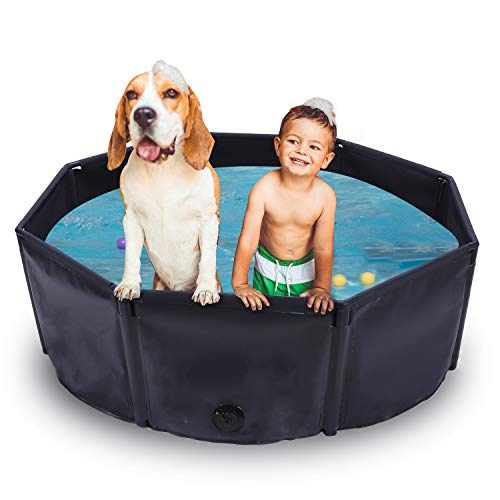 Foldable Dog Pool Durable, Hard Plastic Dog Swimming Pool with Build-in...
