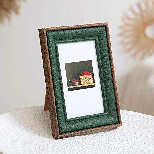 QKEMM Fotorahmen Chic Geschenk Souvenir Picture Frame Density Board Stellen Sie Den Tisch Ein+Hängen Sie An Der Wand 10,2×15,2cm Bräunlich Grün