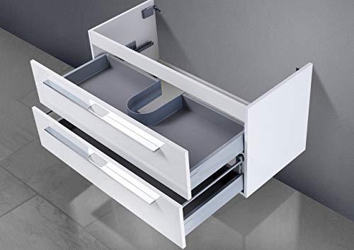 Intarbad ~ Unterschrank zu Geberit Keramag iCon Doppelwaschtisch (für 1 Ablauf) 120 cm Grau Matt Lack IB1046