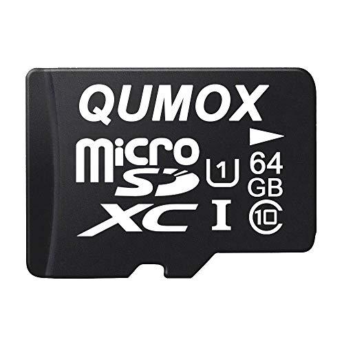 QUMOX 64GB Scheda memoria MICRO SD MEMORY CARD CLASS 10 UHS-I da 64 GB ad alta velocità Velocità di scrittura 20 MB / s Velocità di lettura fino a 40MB / S