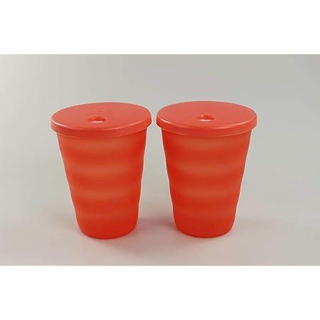 Tupperware 2 Stück Junge Welle Trinkhalm Becher mit Deckel 330 ml neu