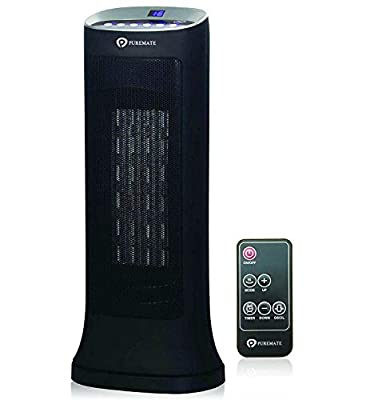PureMate 2000W Oscillating Ceramic Portable Tower Fan Heater with Adjustable Thermostat & 2 Heating Settings with Remote Control and Timer