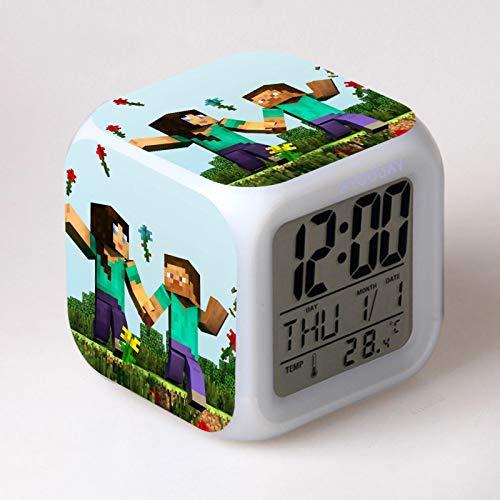 WWWL Reloj despertador con pantalla LCD de 7 colores de cambio de luz LED reloj Klok Vintage mesa cuadrada digital reloj termómetro verde
