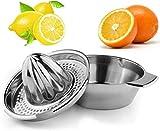 ROVE Zitruspresse Edelstahl Manuell Zitronenpresse Orangenpresse mit Behälter 412ml