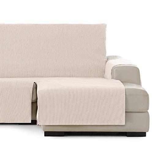 Vipalia Cubre Sofa chaiselongue Ajustable. Funda de Sofa Chaise Longue Brazo Derecho Largo. Protector Antimanchas. Color Marfil. Chaise Largo Derecha