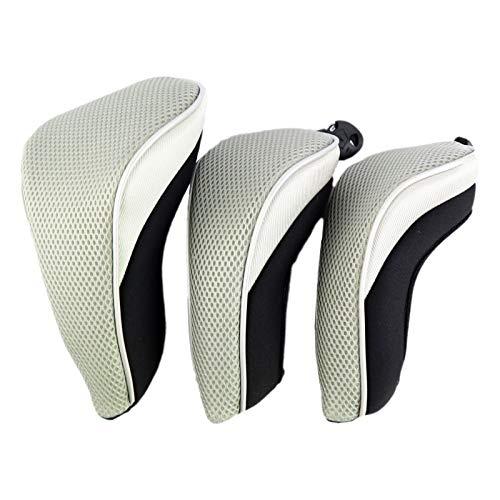 SM SunniMix 3 Teilige Waschbare Golfschläger Kopfbedeckungen Kopfbedeckungshülsen für 460ccm Driver Putter - Grau Grün, 30 x 14 cm