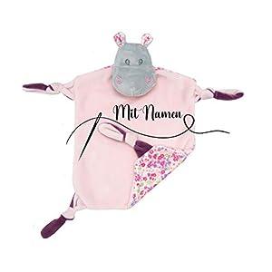 Schmusetuch mit Namen bestickt Kuscheltuch Schnuffeltuch Kuscheldecke für Baby | Nilpferd mit Rassel Rosa