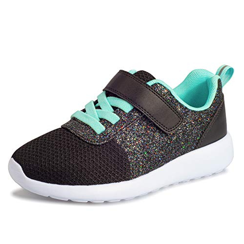 Harvest Land Girls Sneakers Toddlers/Kids Glitter Tennis Shoes Fashion Mesh Breathable Hook and Loop Slip-on Basketball Running Sports Shoes (Toddlers/Little Kids/Big Kids) Black
