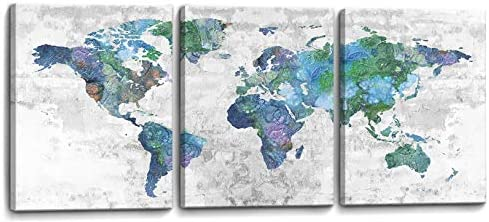 SDYA Wall Art for Living Room Wall Decor for Bedroom Abstract Canvas Wall Art World Map Canvas Prints 12x16x3 Framed Wall Art Easy to Hang Wall Decorations Modern Popular Wall Decoration
