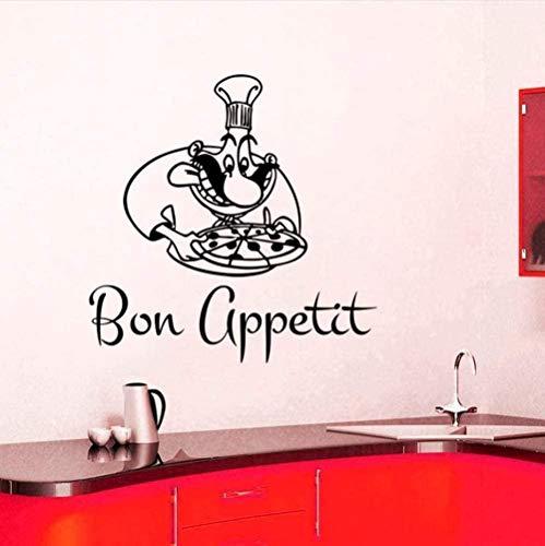 Calcomanías de pared de moda moderna calcomanía de pared personalizada Bon Appetite Chef y Pizza cocina azulejo autoadhesivo 58X58cm