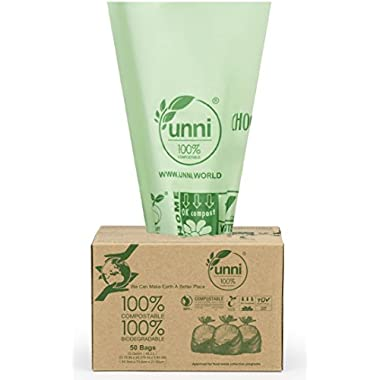 UNNI ASTM6400 Certified 100% Compostable Bags, 13 Gallon, 50 Count, Heavy Duty 0.85 Mils,Tall Kitchen Food Scraps Yard Waste Compost Bags,US BPI and European VINCOTTE OK HOME Certified | San Francisco
