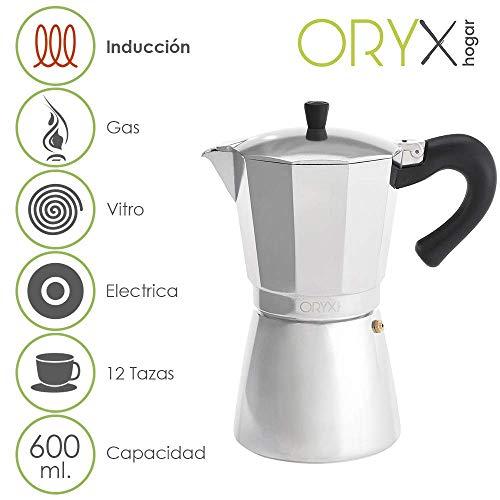 ORYX 5056024 Cafetera Inducción Aluminio 12 Taza, 600 ml
