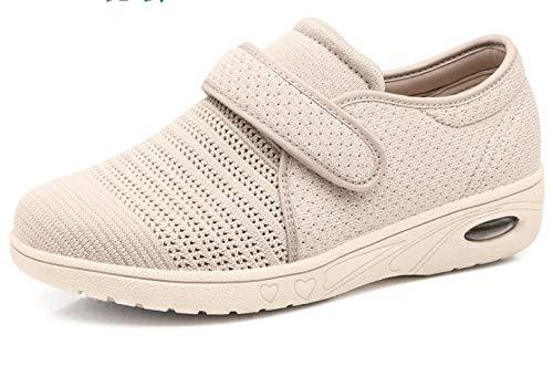 B/H Espuma De Memoria Zapatillas para DiabéTicos,Zapatos de Malla Transpirables Antideslizantes, Zapatos de Madre Ligeros Acolchados-Beige_37