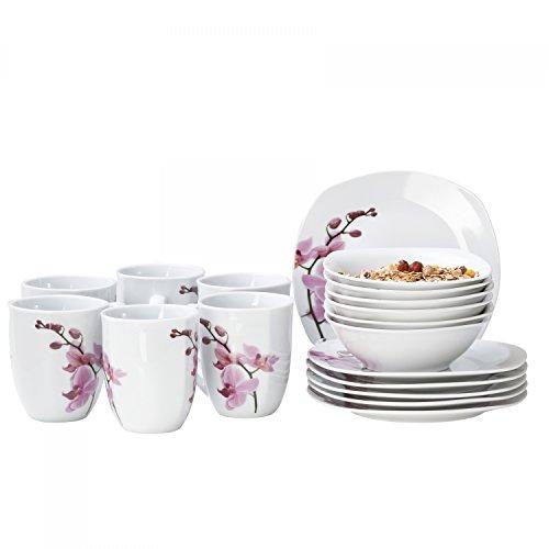 Van Well 18tlg. Frühstücksservice Kyoto, Kaffeebecher + kleine Teller + Müslischalen, Porzellan-Geschirr, Blumen-Dekor Orchidee, rosa-rot, pink