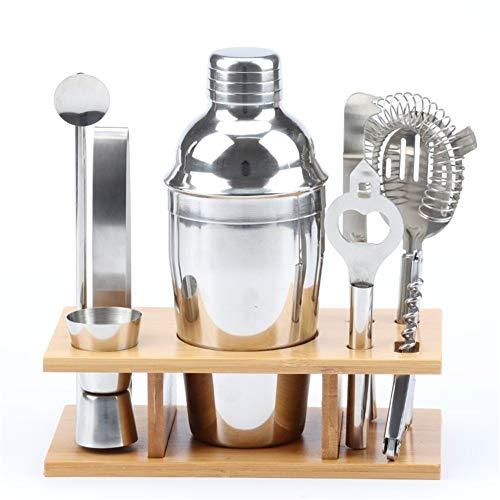 Zavddy Coctelera para Cócteles Kit de Camarero con Estilo de bambú Soporte, 9 Pieza Coctelera Conjunto de Bebida mezclada Conjunto de Barra (Color : Silver, Size : 350ml)