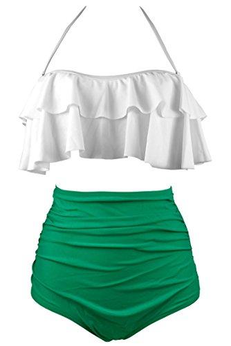 COCOSHIP Creamy White & Green Solids Retro Boho Flounce Falbala High Waist Bikini Set Chic Swimsuit Swimwear L(FBA)