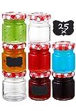 25 Tarros de Cristal con Tapa Pequeños de 50 ml - Hermeticos - Con Etiquetas - Botes de Cristal para Mermelada, Miel