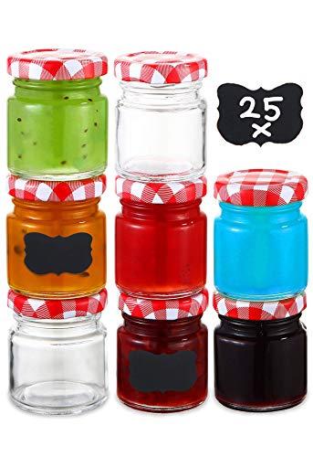 Praknu 25 Tarros de Cristal con Tapa Pequeños de 50 ml - Hermeticos - con Etiquetas - Botes de Cristal para Mermelada, Miel