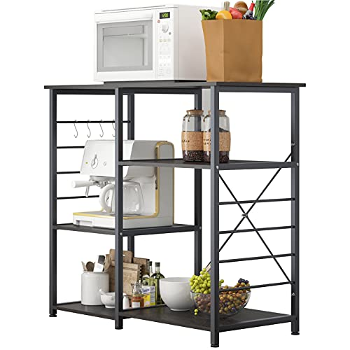 SogesHome 3-Tier Kitchen Baker's Rack Utility Microwave Oven Stand Storage Cart Workstation Shelf, with 4 Removable Hooks, NSDUS-LD-008 (Black)
