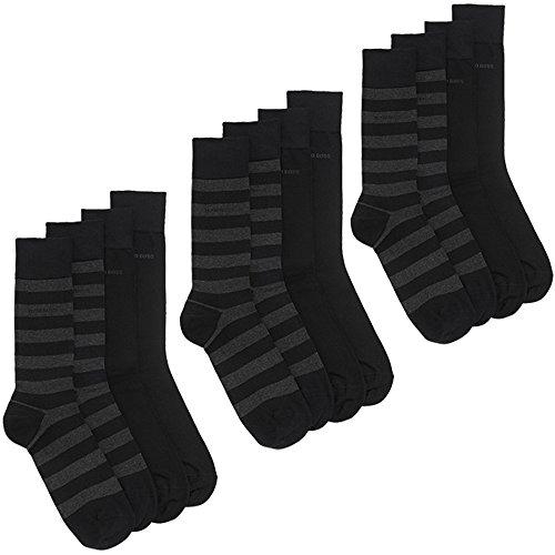 BOSS HUGO 6 Pack Herren Socken mens socks Baumwolle Elasthan 001 Schwarz 43-46