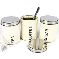 Get Goods Lot de 3boîtes Thé Café Sucre–800ml//hermétique en acier inoxydable et émail–Boîtes de rangement cuisine