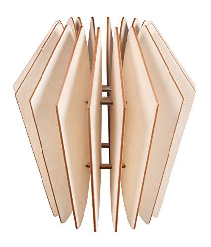 Rayher 62900505 Bastelset Lamellenlampe Kopenhagen, skandinavisches Design, aus Naturholz, FSC-zertifiziert, 22 x 22 x 23,5 cm, Lampenschirm für Stehlampe oder Hängelampe