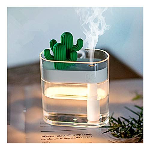 160ML Cactus Ultrasonic Air Humidifier - USB Car Purifier Aroma Diffusor Best for Home, Bedroom, Bathroom And Office