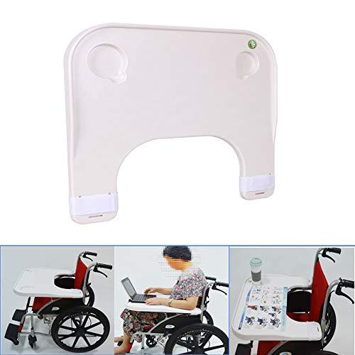 Draagbare universele dienbladen bureau, medische draagbare kinderstoel universele dienbladen bureau met 2 bekerhouder geschikt voor handmatige of elektrische rolstoelen (wit)