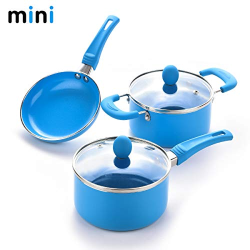 "Caannasweis 3 Piece Cookware Set, 5.5"" Nonstick Frying Pan, Sauce Pan and Soup pan with glass lid set (Blue)…"