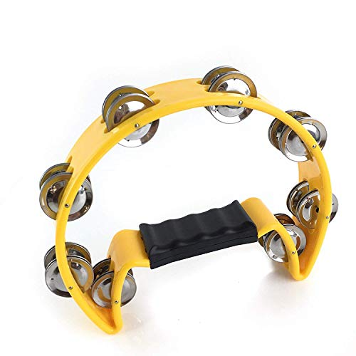 EastRock Tambourine,Metal Jingles Hand Held Percussion-Half Moon Tambourine for Kids, Adults, KTV, Party YELLOW