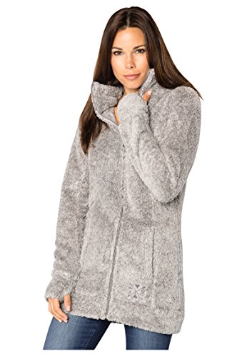 Sublevel Damen Kuschel Fleece-Mantel aus Teddy-Fleece Light-Grey M