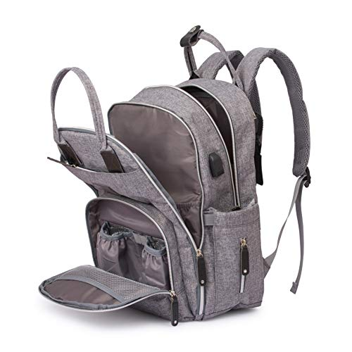 Baby Changing Backpack | Large Capacity Travel Rucksack | Premium Waterproof Bag | Free Matching Baby Changing Mat and Stroller Clips | Grey Unisex Nappy Bag for Mums and Dads|