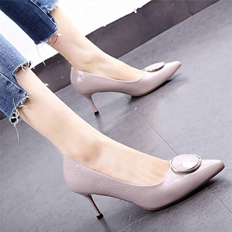 HOESCZS grau high Heels weiblich 19 frühling Neue Spitze Lackleder Stiletto Ferse Schuhe Temperament quadratische Schnalle einzelne Schuhe Frauen Schuhe