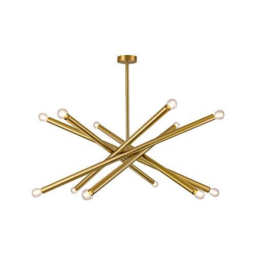 OYI 12-Flammig Kronleuchter Modern Pendelleuchte Drehbar Pendellampe E12 Lampenfassung Brass Finish für Wohnzimmer Küche Schlafzimmer Esszimmer Büro Laden