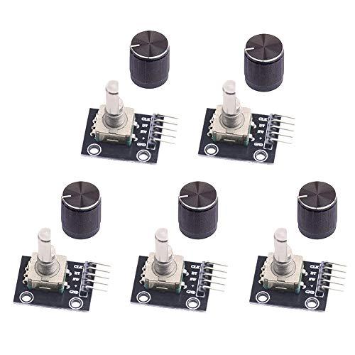 WayinTop 5 Stück Rotary Encoder Modul KY-040 360 Grad Drehgeber Drehwinkelgeber mit Druckknopf für Arduino