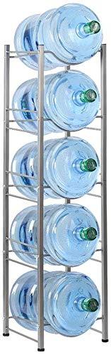 Liheya Estante refrigerador de agua de 5 pisos de 5 galones para almacenamiento de botellas de agua en la oficina, soporte para enfriador de agua en la cocina, compacto plateado