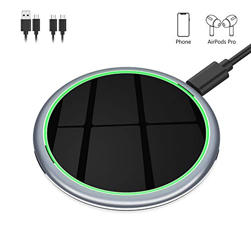 Yootech 7.5W/10W/15W Metal Wireless Charger,15W Max Wireless Charging Pad Compatible with iPhone 11/11 Pro/11 Pro Max, LG V50/V40/G7,Galaxy Note 10/S10,Pixel 3/4XL, AirPods Pro (with 2 USB C Cable)