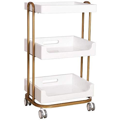 CYGJ 3-Etagen Werkstattwagen mit Rollen,Weiß Eisen Kosmetik Rollwagen für Badezimmer, Küche, Schlafzimmer Lagerung