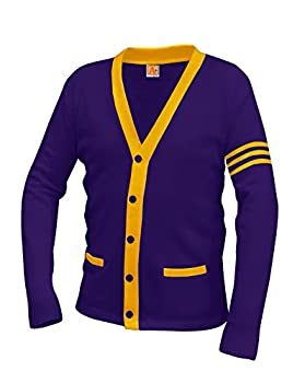 Averill s Sharper Uniforms Your Neighborhood Uniform Store Unisex 5-Button V-Neck with Contrasting Trim Varsity Cardigan Medium Purple/Old Gold