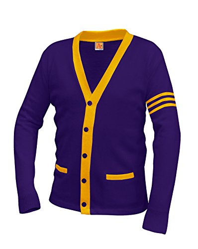 Averill's Sharper Uniforms Your Neighborhood Uniform Store Unisex 5-Button V-Neck with Contrasting Trim Varsity Cardigan Medium Purple/Old Gold