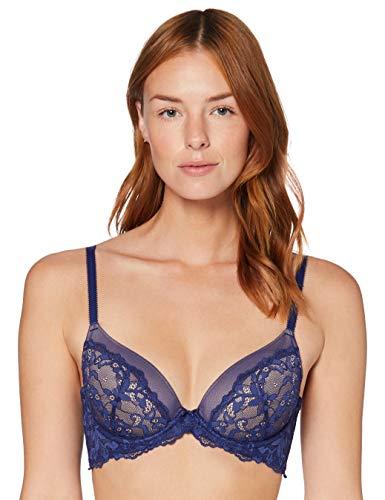Amazon-Marke: Iris & Lilly Damen Halbschalen-BH aus Spitze, Blau (Twilight Blue), 75A, Label: 34A