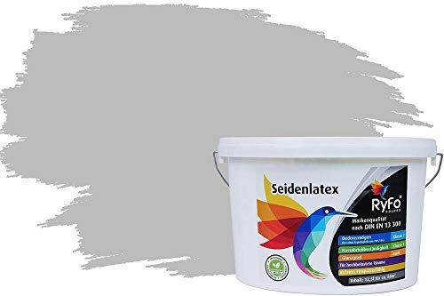 RyFo Colors Seidenlatex Trend Grautöne Perlgrau 12,5l - bunte Innenfarbe, weitere Grau Farbtöne und Größen erhältlich, Deckkraft Klasse 1