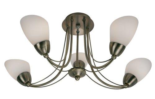 Plafondlamp Altair in antiek messing, met kegelvormige lampenkappen van melkglas