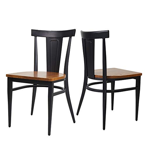 TRY & DO Wooden Dining Room Side Chair Set of 2,Black Kitchen Chairs with Solid Wooden Seat & Metal Legs Stackable Fully Assembled Natural Country Dining Chairs for Room Restaurant and Outdoors