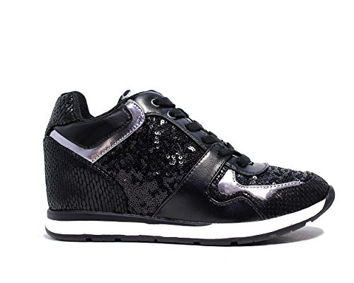 Guess Sneaker Mujer Laceyy Paillettes cuña Cm 6 Tejido Cuero Black